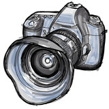 Sketch of a modern digital photo camera