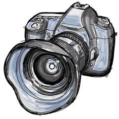 Sketch of a modern digital photo camera