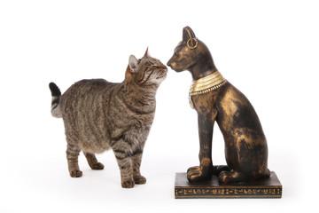 chat souriant à une statue de chat égyptien