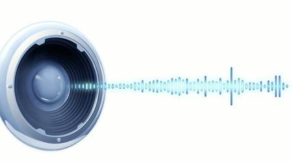 Animation speaker onde audio fond blanc