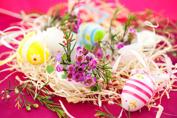 Pink flowers in eggshells