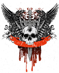 Vector image skull with wings, patterns and ribbon