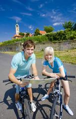 bikers holding a map, Melnik, Czech Republic