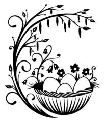 Ostern, Ranke, Ostereier, Frühling, Osterkorb