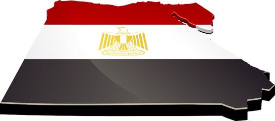 Carte de l'Égypte 3D drapeau (détouré)