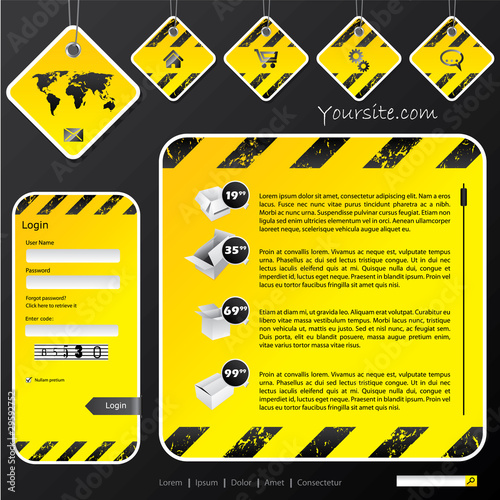 Industrial web template with label signs