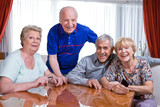 Happy pensioners poster