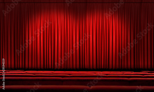Large Red Curtain With Spotlights