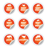 stickers set - pork, poultry, beef poster