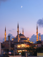 Aya Sofya Mosque And Arabian Moon