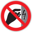 Zeichen Nicht berühren, Gehäuse steht unter Spannung