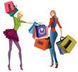 Two beautiful young women with shopping bags