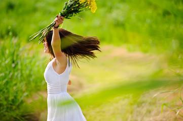 Freedom happy joyful girl