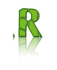 R - lettre brisée en verre vert