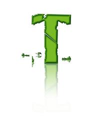 T - lettre brisée en vert