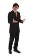 junger Businessmann präsentiert