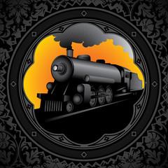 Vintage background with old locomotive.