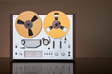 Vintage reel-to-reel tape recorder deck