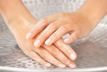 Woman's hands humidification