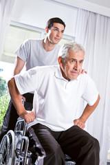 Young nurse helping senior man