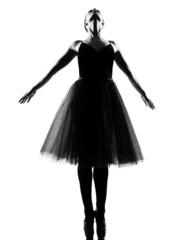 woman ballet dancer standing pose tiptoe