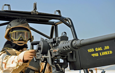 An M2 50 cal. Machinegun on a Desert Patrol Vehicle.