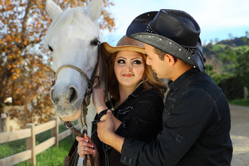 Couple with their horse