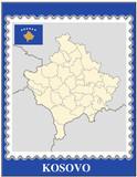 Kosovo national emblem map coat flag business background poster