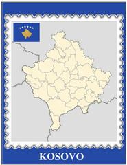 Kosovo national emblem map coat flag business background