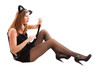 sexy young woman in cat costume