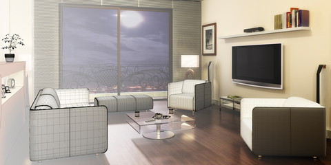 Apartment with a TV (3d)