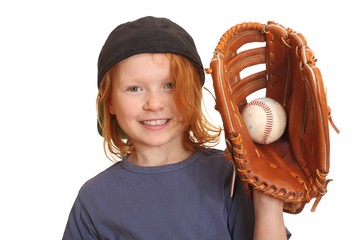 Portrait of a happy red haired girl with baseball cap