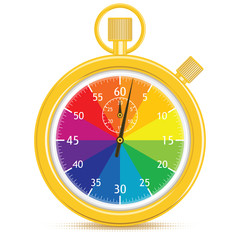 Designer's Stopwatch.  Gold timer, with a color wheel face.