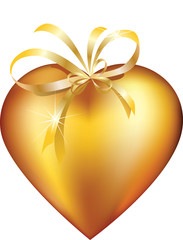 The heart of gold decorated with a bow.