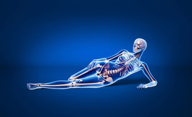 Anatomy woman with skeleton X-ray