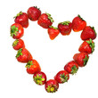 Heart from strawberry on white background
