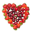Heart from strawberry and cherry on white background