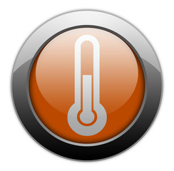 "Orange Metallic Orb Button ""Temperature / Thermometer"""