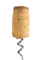 Cork from the bottle with the corkscrew