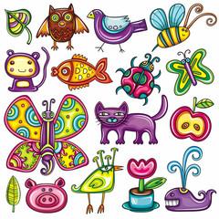 Cartoon flora and fauna set