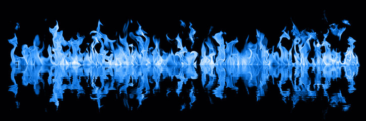 Long blue flames