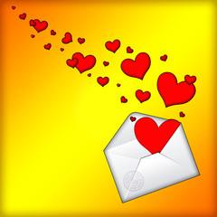 Открытый конверт с сердцами