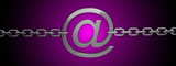 email symbol with chain on pink background 3D