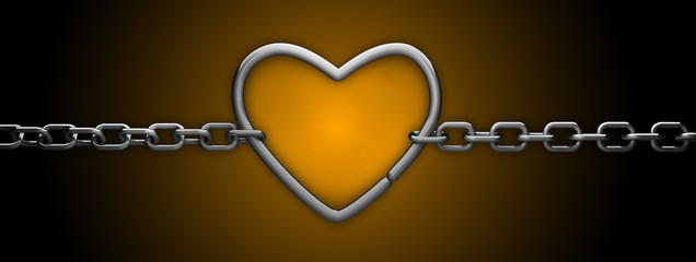 silver heart and chain isolated on orange - love concept