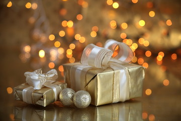 gifts  boxes on gold background