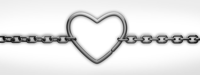 silver heart and chain isolated on withe - love concept © Iaroslav Neliubov