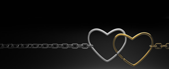 symbols hearts on a chain. on black background . 3d render