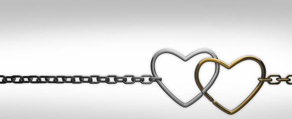 symbols hearts on a chain. on white background . 3d render