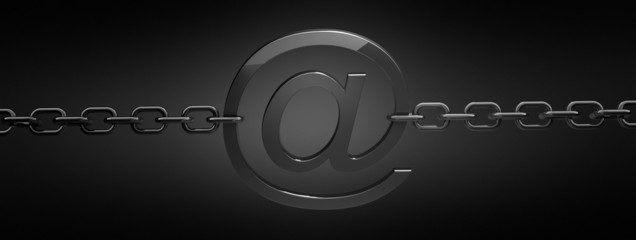 email symbol with chain on black background 3D