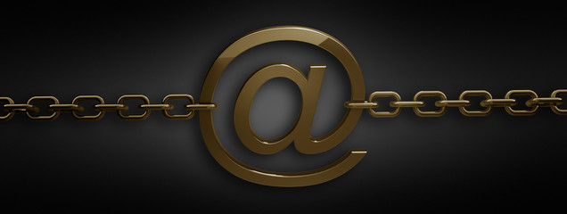 gold chain with heart symbol isolated on black 3d render